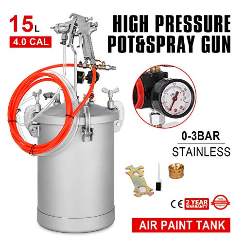 VEVOR Paint Tank 15L / 4 Gallon Pressure Spray Gun with 4.0mm Nozzle Regulator Pressure Pot Paint Sprayer Industrial Painting Painter (15L 4.0mm)