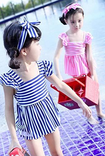 Xiang Ru Filles Bikini Rayures Chics Robe De Bain Hotspring Set Bleu Beachwear