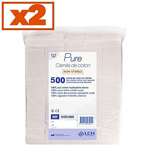 By Antigua Health Care Carr/és De Coton 100/% Coton Hydrophile Lot De 2 Sachets De 500 Carr/és 5 X 5 Cm Cot-055-2
