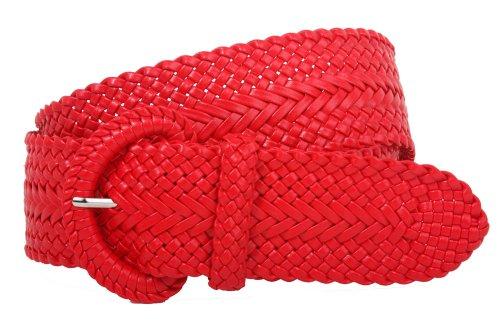 Braided Metallic Leather Belt - 2 Inch Wide Hand Made Soft Metallic Woven Braided Round Belt, Red   m/l-34
