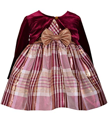 Baby Girls Sleeveless Plaid Taffeta Burgundy Dress with Long Sleeved Cardigan (2T)