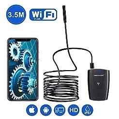 DBPOWER 2MP HD WiFi Endoscope Semi-Rigid...
