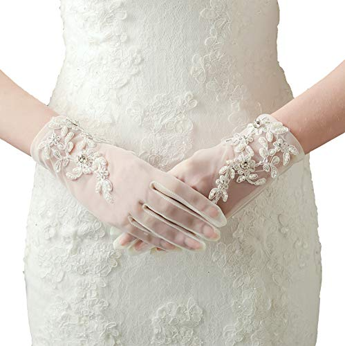 - BABEYOND Floral Lace Gloves for Wedding Opera Party 1920s Flapper Lace Gloves Stretchy Adult Size (Short-White)
