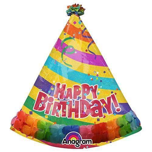 アナグラムバルーン3122999 Anagramパーティー帽子with Streamers Foil Mylarラテックスバルーン、35、