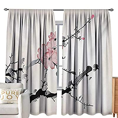 Rod Pocket Curtains Japanese,Watercolors Illustration Traditional Native Blossoming Floral Temperate Zone Plant,Pink Black,Insulating Room Darkening Blackout Drapes for Bedroom 120