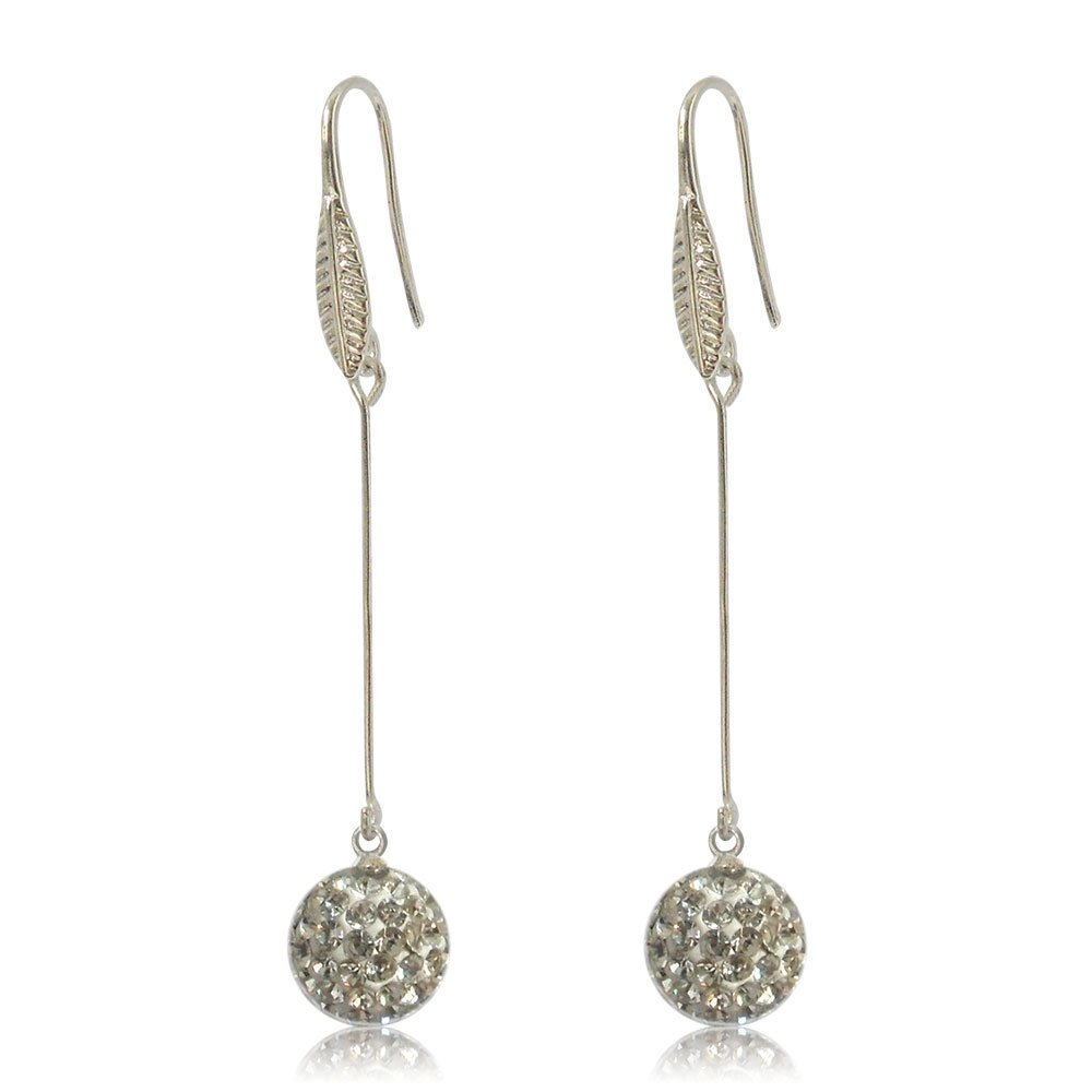 GiftJewelryShop 10MM Sterling Silver Plated White Disco Crystal Ball Dangle Earrings