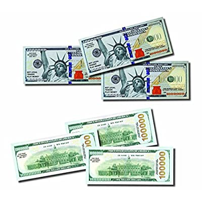 JUMBO Million Dollars, 25 Bills of Best Real Looking Play Money, Jumbo Size Real Rich Full Color, The #1 Play Money for Education, Props, Gifts & Fun: Toys & Games