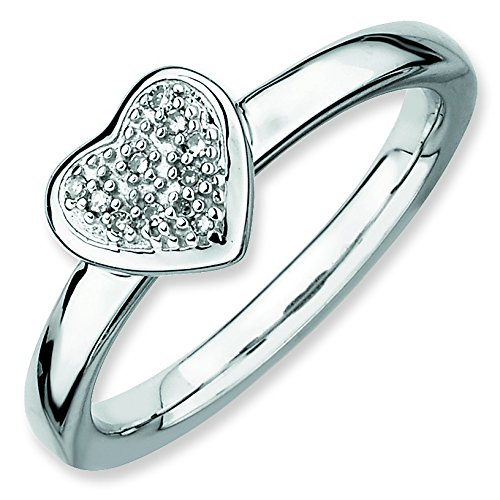 Sterling Silver Polished Prong set Rhodium-plated Stackable Expressions Heart Diamond Ring - Size 9 (Navel Diamond Heart Jewelry)