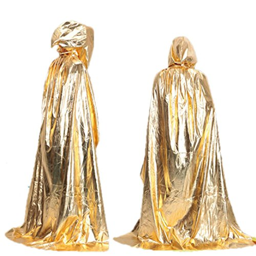 Oksale® Halloween Death Hooded Fluff Fiber Cloak Adult Long Section Of Mopping The Floor Masquerade Cope Robe (gold)