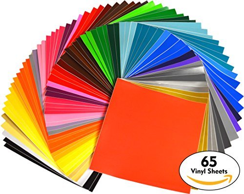 iVinyl - 65 Adhesive Sheets 12'' x 12'' Premium Permanent Self Adhesive Backed Vinyl Sheets - 65 Glossy & Matt Assorted Colors Sheets for Cricut, Craft Cutters, Silhouette Cameo & Crafting Machines by iVinyl