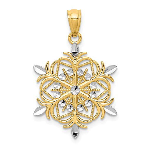 14k Yellow Gold Snowflake Pendant Charm Necklace Winter Fine Jewelry Gifts For Women For Her
