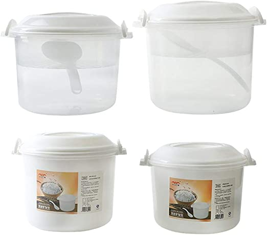 Nuevo horno de microondas cocina de arroz especial cocina de plástico multiusos caja de arroz arroz al vapor doble caja de almacenamiento especial caja de almuerzo -2.7L: Amazon.es: Hogar