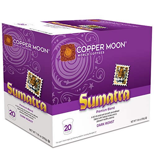 Copper Moon Coffee Single Serve Pods for Keurig 2.0 K-Cup Brewers, Sumatra Blend, Dark Roast Coffee with Smoothly Bold Earthy Flavors and Herbal Notes, 20 Count