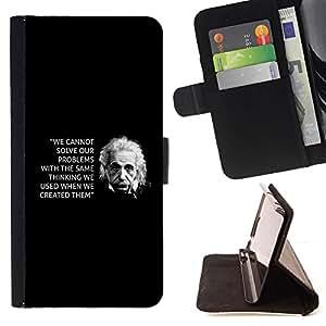 BullDog Case - FOR/HTC One M9 / - / Einstein black inspiring quote science /- Monedero de cuero de la PU Llevar cubierta de la caja con el ID Credit Card Slots Flip funda de cuer