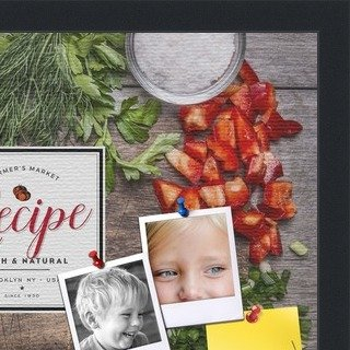 PinPix-Group-36 Recipe Board with Chopped Vegetables Printed at 18x12 Inches and Framed in Satin Black PinPix Decorative pin Cork Bulletin Board Made from Canvas