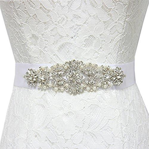 New White//Ivory Bridal Wedding Dress Rhinestone Vintage Beaded Crystal Belt Sash