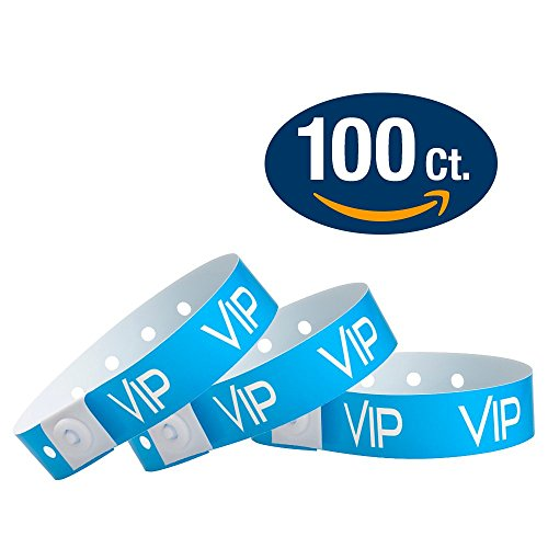 WristCo Neon Blue VIP Plastic Wristbands - 100 Pack Wristbands For Events