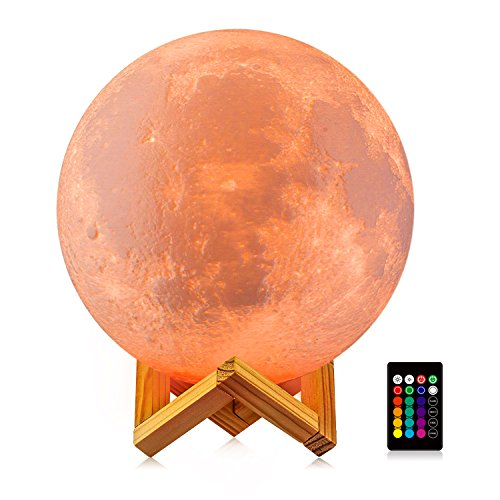 Moon Night Light, LOGROTATE 3D Printing LED 16 Colors Large Moon Lamp with Stand, Lunar Decorative Lights with Remote&Touch Control & Dimmable & USB Recharge(Diameter 8 inch) by LOGROTATE
