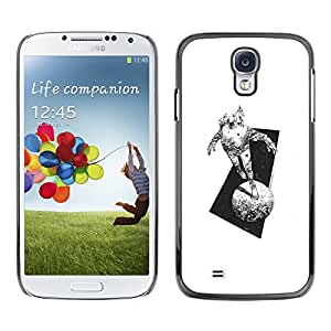 Shell-Star Arte & diseño plástico duro Fundas Cover Cubre Hard Case Cover para SAMSUNG Galaxy S4 IV / i9500 / i9515 / i9505G / SGH-i337 ( Space Suit Moon Monster Travel Art Pencil )