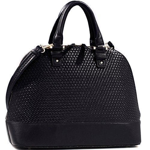 Dasein Zip Around Structured Domed Satchel Handbag Purse, Tablet, Ipad Bag - Black
