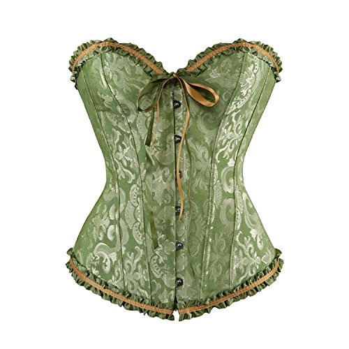 Lace Brocade Corset (AIZEN Women Satin Bustiers Corsets Wedding Push Up Brocade Pattern Lace Through Top Green M)