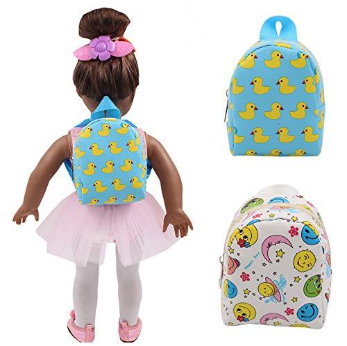 [해외]UUsave 2Pcs 45.7cm 인형 백팩 인형 액세서리 카톤 스쿨백 숄더 백 45.7cm 미국 소녀 인형 / UUsave 2Pcs 18 Inch Doll Backpack Doll Accessories Carton Schoolbag Shoulder Backback Compatible with 18 Inch American Girl Dolls (Set of 2)