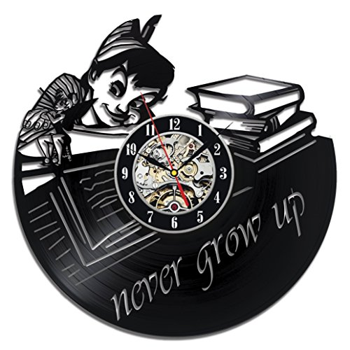 Peter Pan Baby Vinyl Record Wall Clock - Decorate your home with Modern Large Disney Art - Gift for kids, girls and boys - Win a prize for a (Tinkerbell Movies In Order)