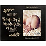 Personalized gift for Baptism First Holy Communion Christening Photo Frame You are fearfully and wonderfully made Maple picture frame holds 4x6 photo (black)