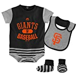 "San Francisco Giants Infant Black Gray Stripe""Baseball Property"" Creeper Bib Bootie Set"
