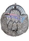 Grey Rabbit Fur Skin 3 Tassel Leather Kilt SPORRAN & Belt Scottish Bovine Purse