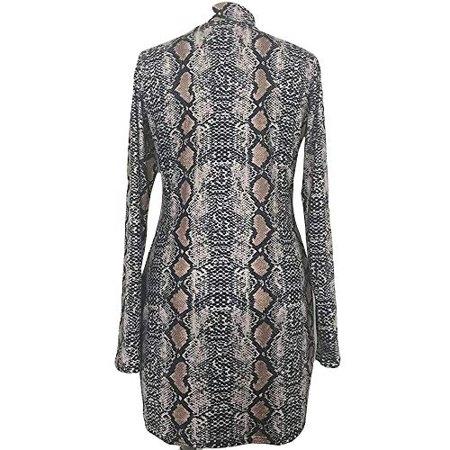 POQOQ Dress Women Sexy Fashion Print Long Sleeve Turtleneck Snake Grain Hip S Gray