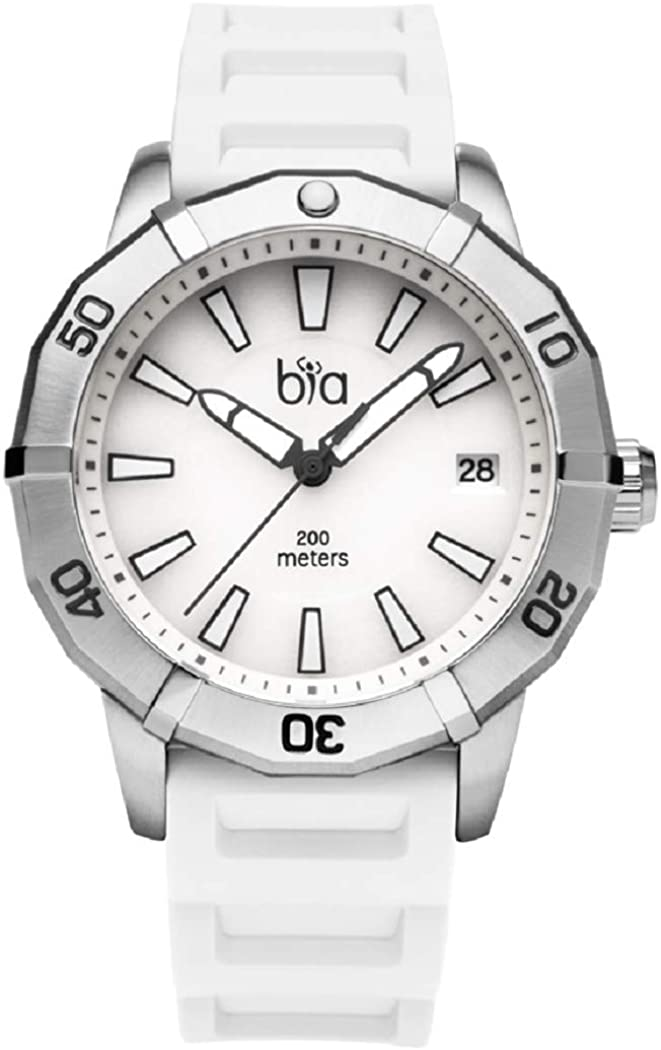 Bia Women's Rosie Stainless Steel Japanese Quartz Diving Watch with Silicone Strap, White, 18 (Model: B2012)