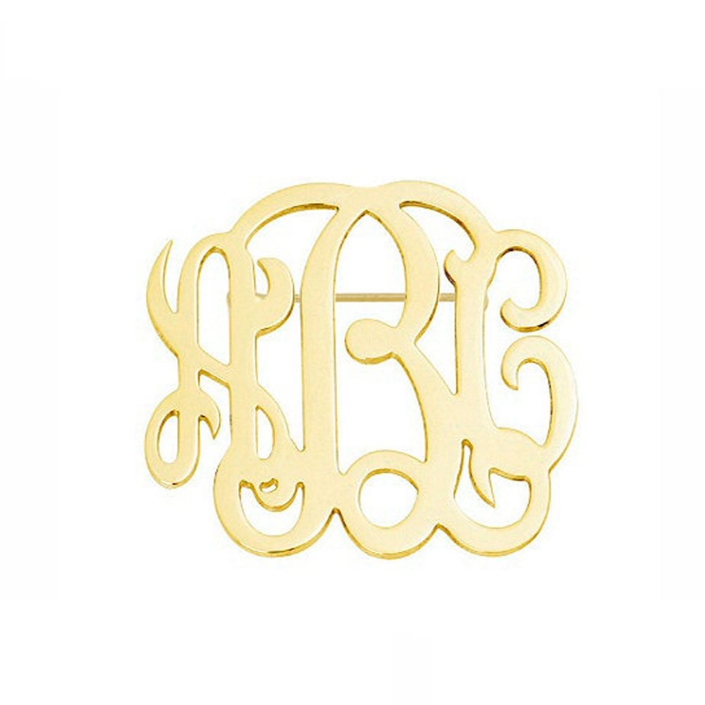 AOCHEE Name Brooch Personalized 3 Initial Brooch Custom Monogram Letter Pins Jewelry (Gold)
