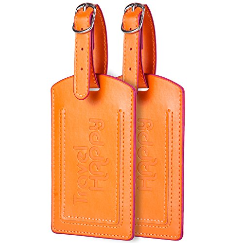 Bellerina Luggage Tags. Set of 2. Easy To Spot Suitcase Labels. Happy Orange by Bellerina