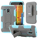 moto g gen 1 case - Celljoy Case compatible with Moto G, Moto G 1st Gen, XT1032 [Rugged] Hybrid Dual Layer Hard Shell - Soft Silicone Skin (Kickstand) [Belt Clip Holster Included] (Teal/Gray)
