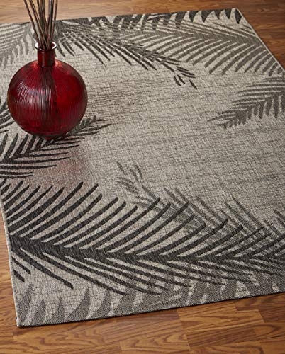 LR Home CAPTI81016BEL7995 Captiva Shaded Palms Indoor/Outdoor Area Rug, 7'9
