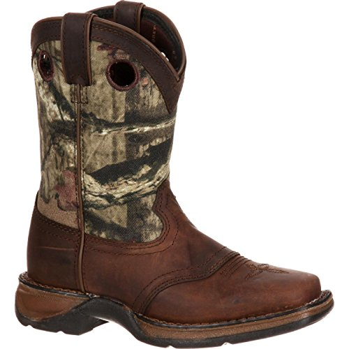 Durango Unisex Lil Big Kid Camo Saddle Western Boot Mid Calf, Distressed Brown, 6.5 M US
