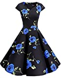 Dresstells Retro 1950s Solid Color Cocktail Dresses Vintage Swing Dress with Cap-sleeves Blue Flower 2XL