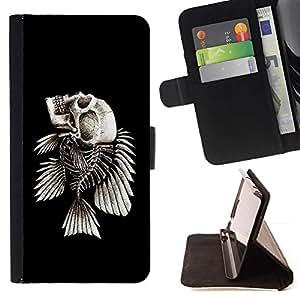 For LG Nexus 5 D820 D821 Case , Esqueleto de los pescados- la tarjeta de Crédito Slots PU Funda de cuero Monedero caso cubierta de piel