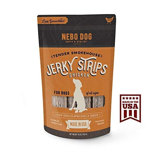 "(Nebo Dog Gourmet Jerky Dog Treats - Made in USA - Slow Roasted Tender & Delicious 6"" Jerky Strips - No Artificial Fillers, Wheat, Corn or Soy - Choose American Beef or Chicken 