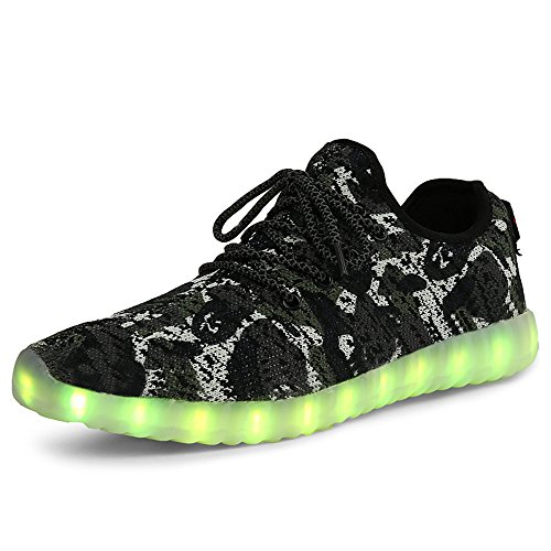 Grey Women Men Shoes for LED Dance Sneakers up Light New Sport Camouflage Camo Mesh Knit Tennis FCqx6W5d
