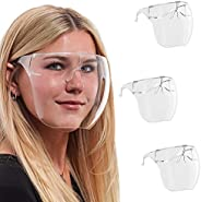 Salon World Safety (Pack of 3) Protective Face Shield Full Cover Visor Glasses with Frames - Ultra Clear Reusa