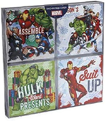 Marvel Avengers - Pack de 24 tarjetas de Navidad: Amazon.es ...