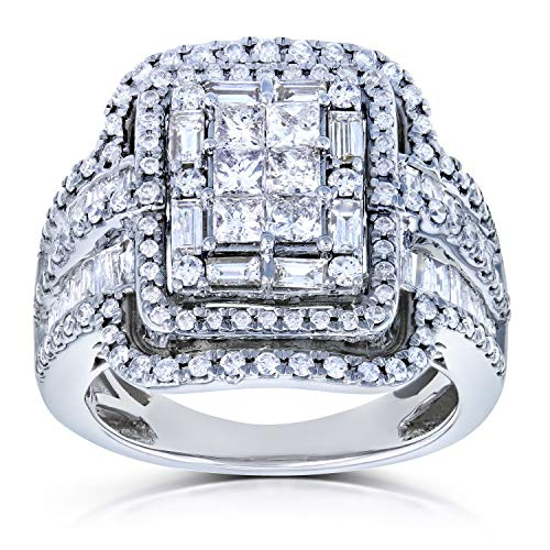 Diamond Cluster Rectangular Frame Engagement Ring 2 CTW in 14k White Gold, Size 8, White Gold ()