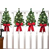 Collections Etc Christmas Trees with Solar Lights and Red Bows Outdoor Fence Decor - Home Holiday Accents - Attached Hooks for Easy Hanging