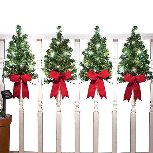 Collections Etc Christmas Trees with Solar Lights and Red Bows Outdoor Fence Decor  Home Holiday Accents  Attached Hooks for Easy Hanging
