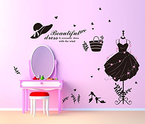 Fange DIY Removable Beautiful Lady's Dress Bag Shoes with Butterflies Art Mural Vinyl Waterproof Wall Stickers Living Room Decor Bedroom Decal Sticker 27.5''x19.6''