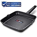 Frying Pan 11 inch, Deep Square Grill Pan for Steak, Fish and Meat,...