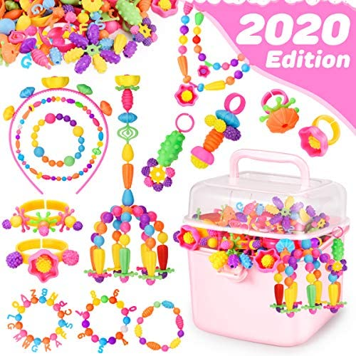 Holiky Girl Toys for 3-8 Year Old Girls Gifts Snap Pop Beads for Toddlers Kids Jewelry Making Kit Art and Craft Kits for DIY Necklace Ring Bracelet