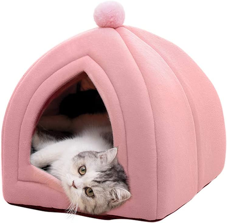 Famgizmo - Caseta para gatos, 40 x 40 x 42 cm, 2 en 1 con cúpulas, cojín extraíble para gatos o perros pequeños, tienda/cama/casa plegable para animales de compañía, color rosa